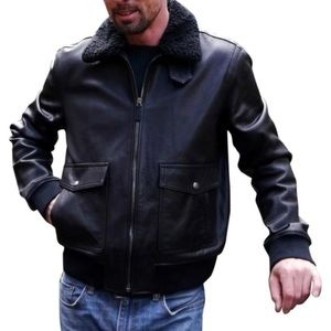 Men's NWT Black Leather Shearling Zip Coat
